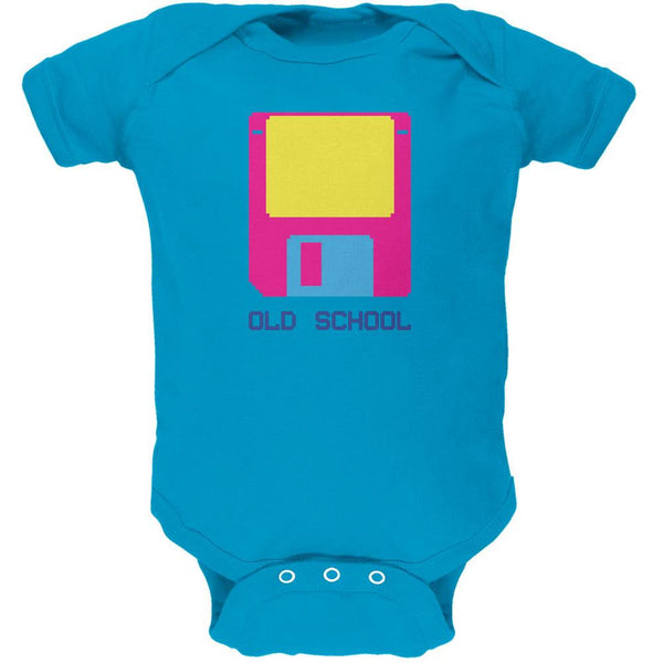 Floppy Disc Old School 8 Bit Turquoise Soft Baby One Piece