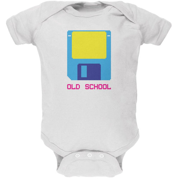 Floppy Disc Old School 8 Bit White Soft Baby One Piece
