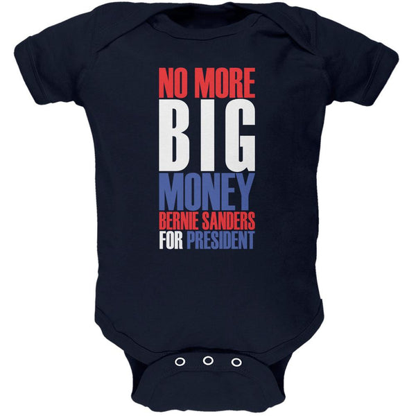 Bernie Sanders No More Big Money 2016 Navy Soft Baby One Piece