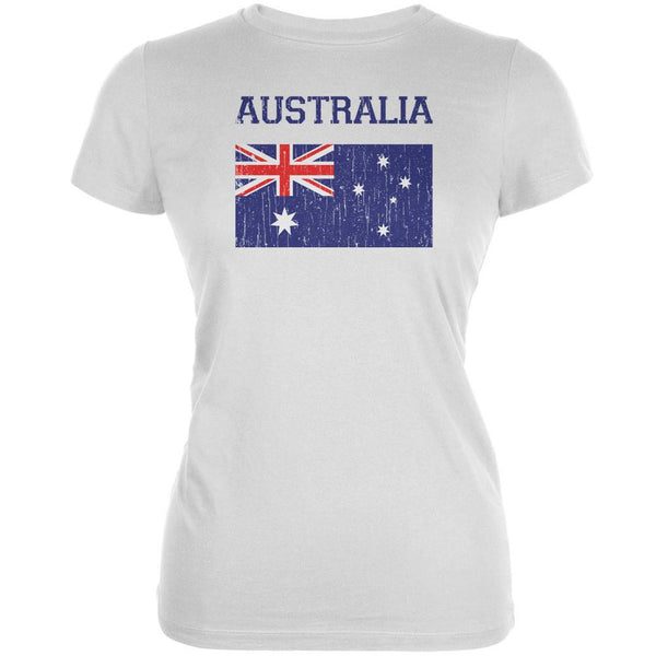 World Cup Distressed Flag Australia White Juniors Soft T-Shirt