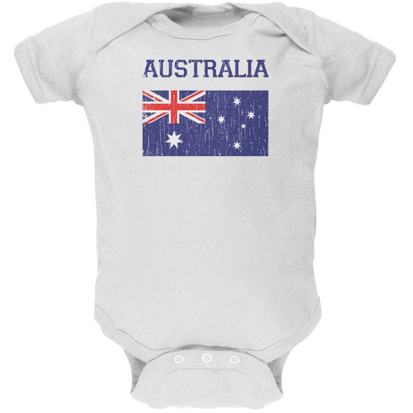 World Cup Distressed Flag Australia White Soft Baby One Piece