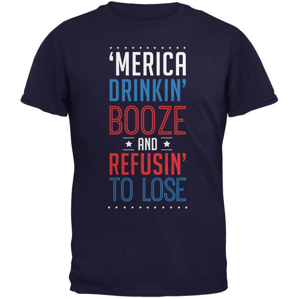 4th of July 'Merica Drinkin Booze Navy Adult T-Shirt
