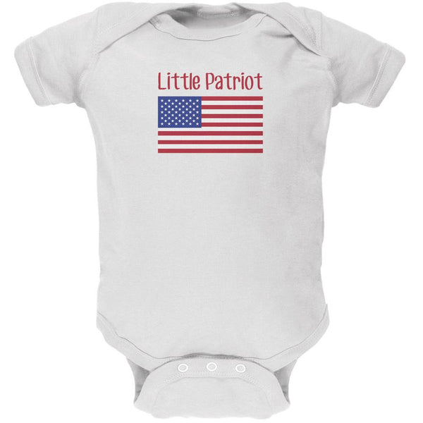 4th of July Little Patriot White Soft Baby One Piece