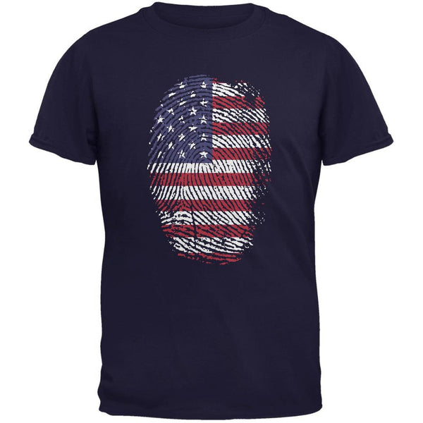 4th of July American Flag Pride Thumbprint Navy Youth T-Shirt