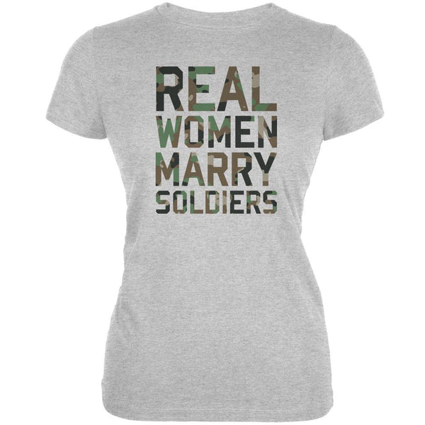 Real Women Marry Soldiers Heather Grey Juniors Soft T-Shirt