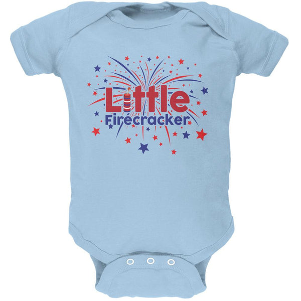4th Of July Little Firecracker Light Blue Soft Baby One Piece