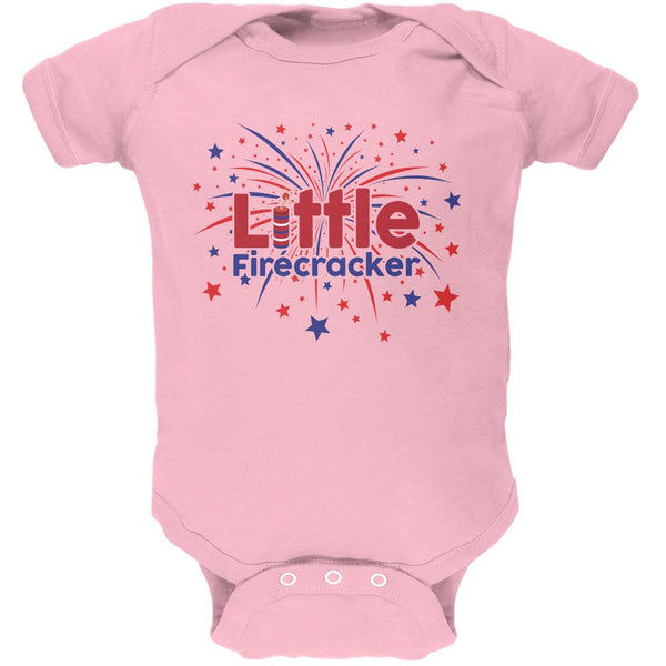 4th Of July Little Firecracker Light Pink Soft Baby One Piece