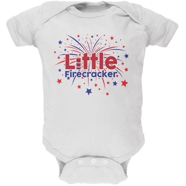 4th Of July Little Firecracker White Soft Baby One Piece