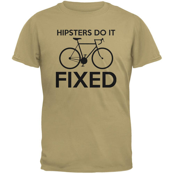 Hipsters Do It Fixed Tan Adult T-Shirt