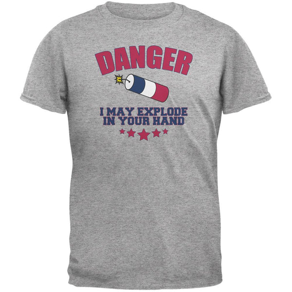 4th Of July Explode In Your Hand Heather Grey Adult T-Shirt