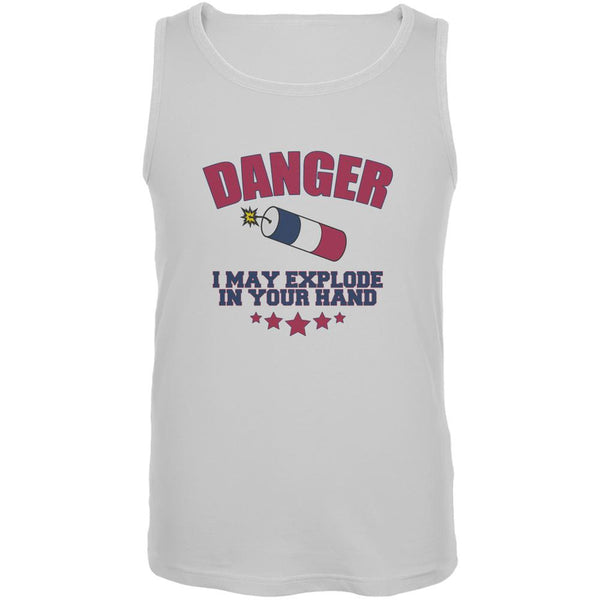 4th Of July Explode In Your Hand White Adult Tank Top