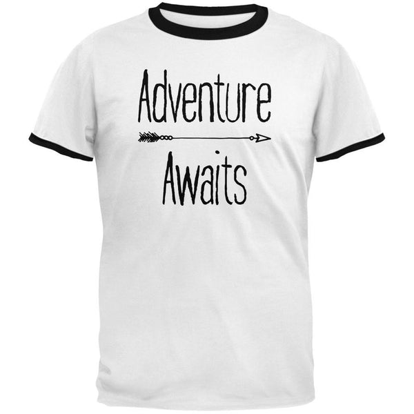 Adventure Awaits Native Arrow White/Black Men's Ringer T-Shirt