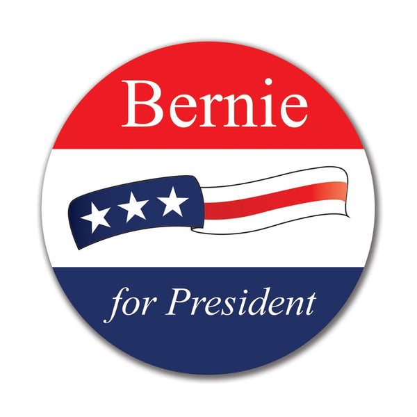 Election 2016 Bernie Sanders Waving Flag 4x4 Round Sticker