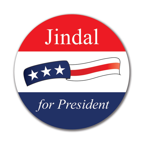 Election 2016 Bobby Jindal Waving Flag 4x4 Round Sticker