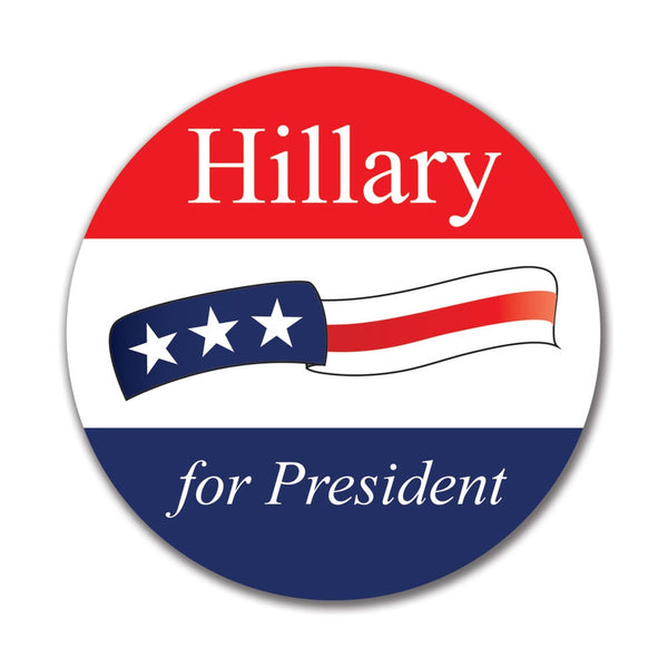 Election 2016 Hillary Clinton Waving Flag 4x4 Round Sticker