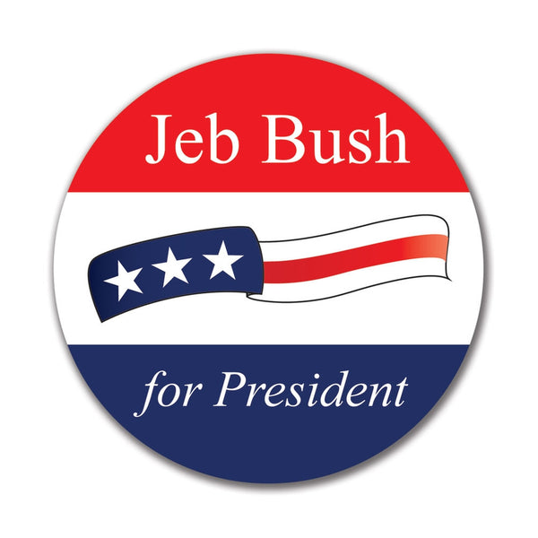 Election 2016 Jeb Bush Waving Flag 4x4 Round Sticker