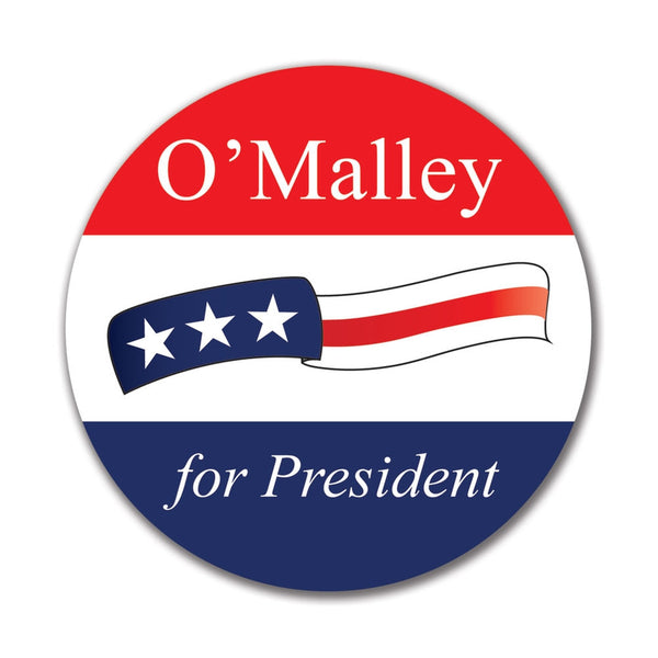Election 2016 Martin O'Malley Waving Flag 4x4 Round Sticker