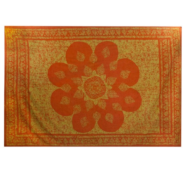 Leaf Mandala Amber Single Tapestry