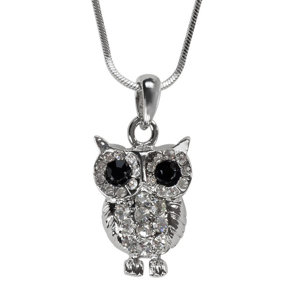 Crystal Gemmed Owl Necklace