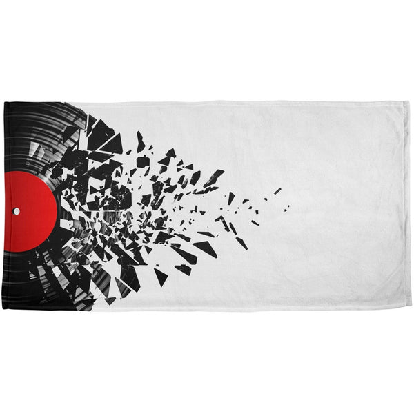 Broken Record All Over Plush Beach Towel