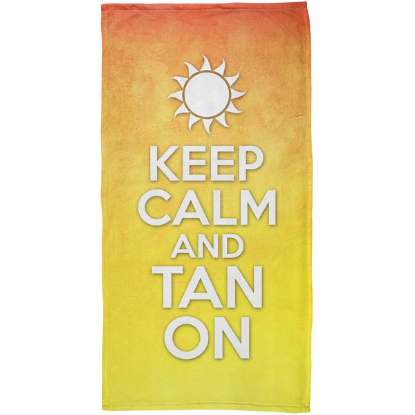 Keep Calm Tan On All Over Plush Beach Towel