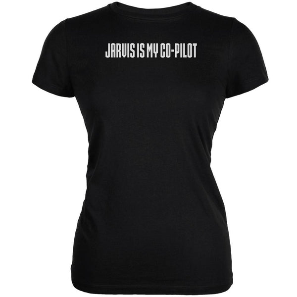 Jarvis is my Copilot Funny Black Juniors Soft T-Shirt