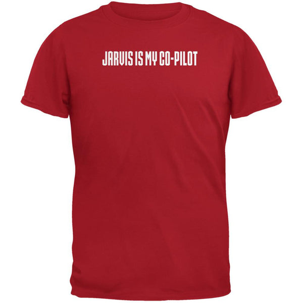 Jarvis is my Copilot Funny Red Adult T-Shirt