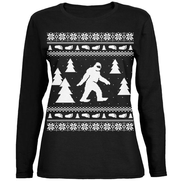 Sasquatch Ugly Christmas Sweater Black Ladies Long Sleeve T-Shirt