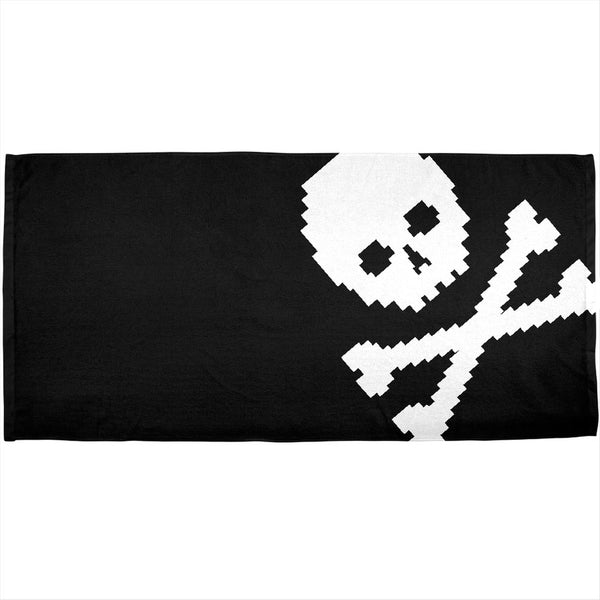 8 Bit Skull & Crossbones Jolly Roger All Over Plush Beach Towel