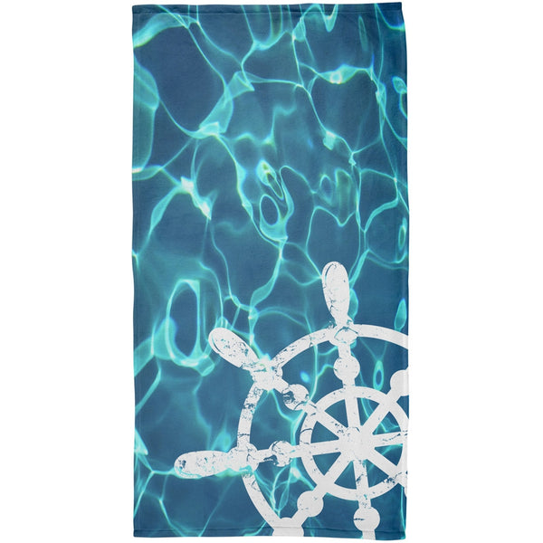 Ship Wheel All Over Beach Towel
