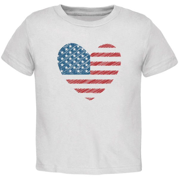 4th of July Scribble American Flag Heart White Toddler T-Shirt