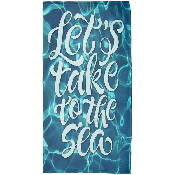 Lets Take to the Sea All Over Plush Beach Towel
