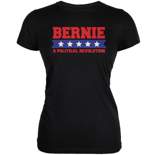 Election 2016 Bernie Revolution Star Banner Black Juniors Soft T-Shirt