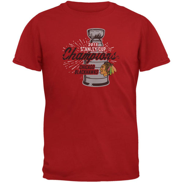 Chicago Blackhawks - 2015 Stanley Cup Champions Burst Red Soft T-Shirt