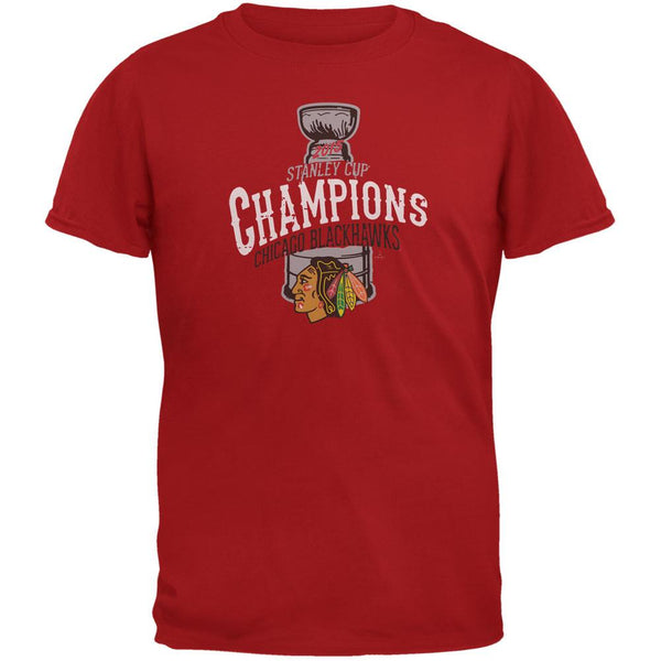 Chicago Blackhawks - 2015 Stanley Cup Champions Swoosh Red Soft T-Shirt