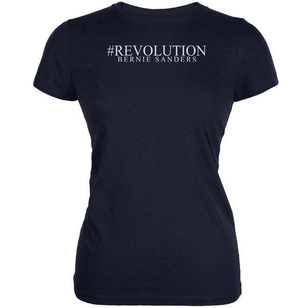 #Revolution Bernie Sanders President 2016 Navy Juniors Soft T-Shirt