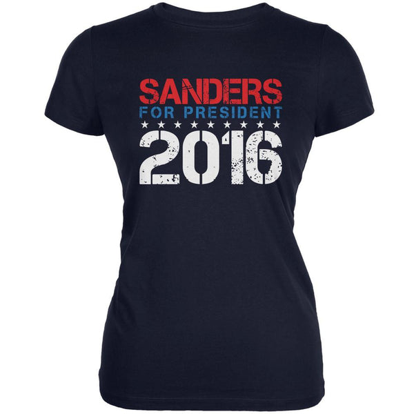 Election 2016 Bernie For President Stencil Navy Juniors Soft T-Shirt