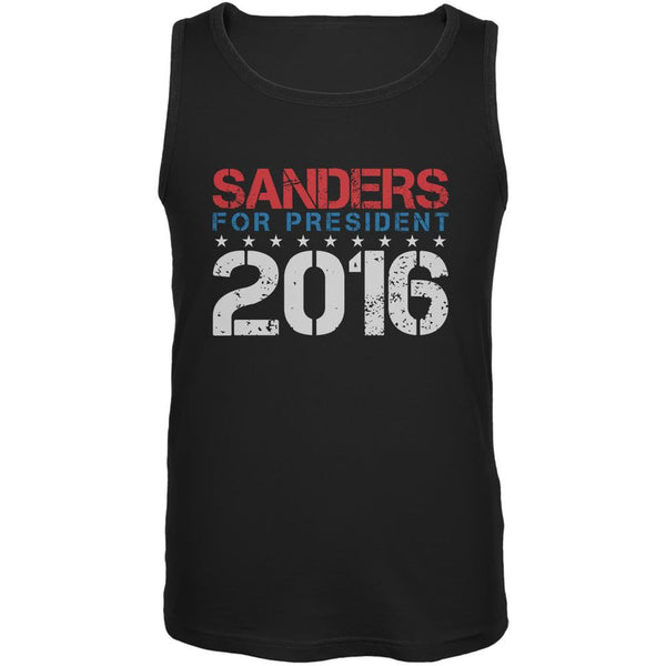 Election 2016 Bernie For President Stencil Black Adult Tank Top
