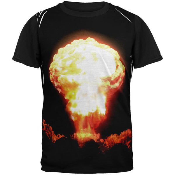 Nuclear Bomb Expolosion Adult Black Back T-Shirt