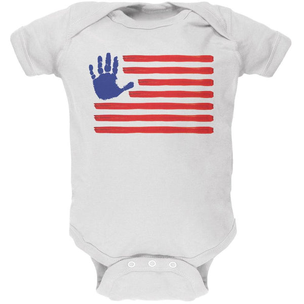 4th of July Fingerpaint American Flag White Soft Baby One Piece