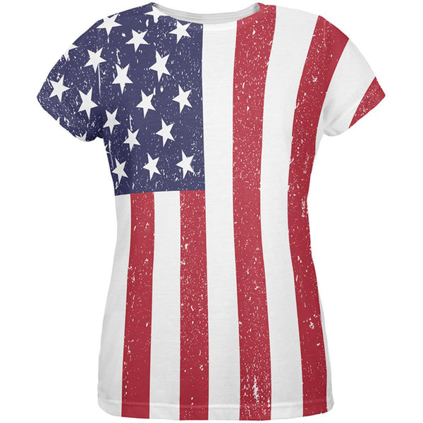 4th of July American Flag Distressed All Over Womens T-Shirt