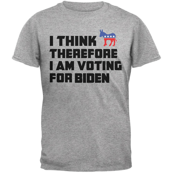 Election 2016 I Think Therefore Biden Light Heather Grey Adult T-Shirt