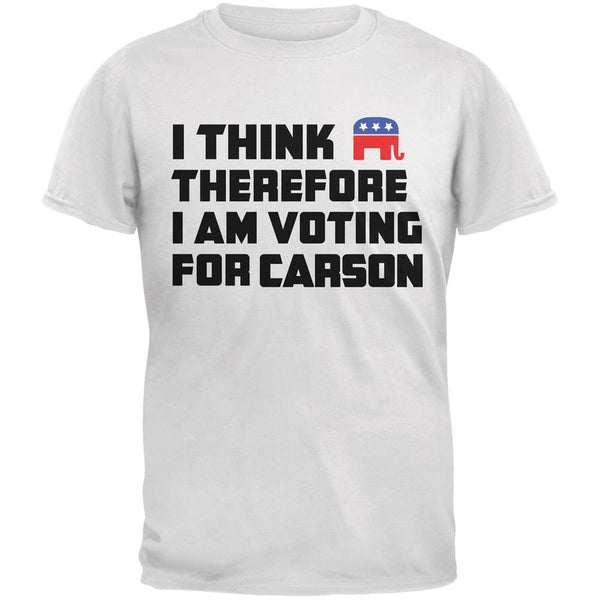 Election 2016 I Think Therefore Carson White Adult T-Shirt