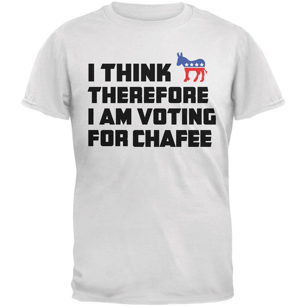 Election 2016 I Think Therefore Chafee White Adult T-Shirt