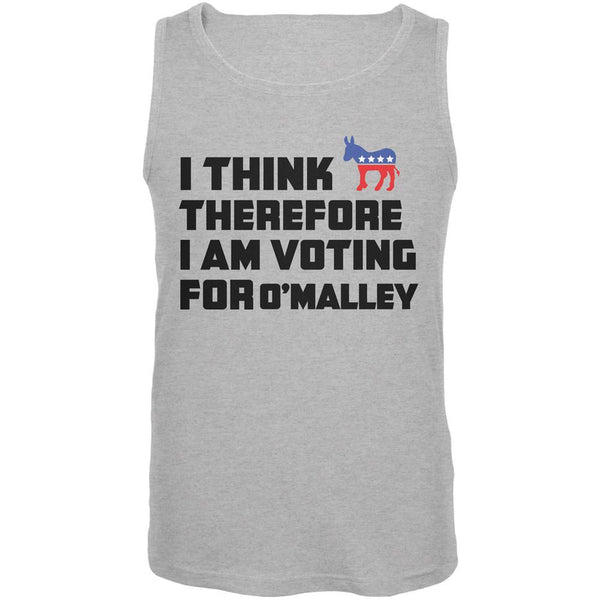 Election 2016 I Think Therefore O'Malley Heather Grey Adult Tank Top