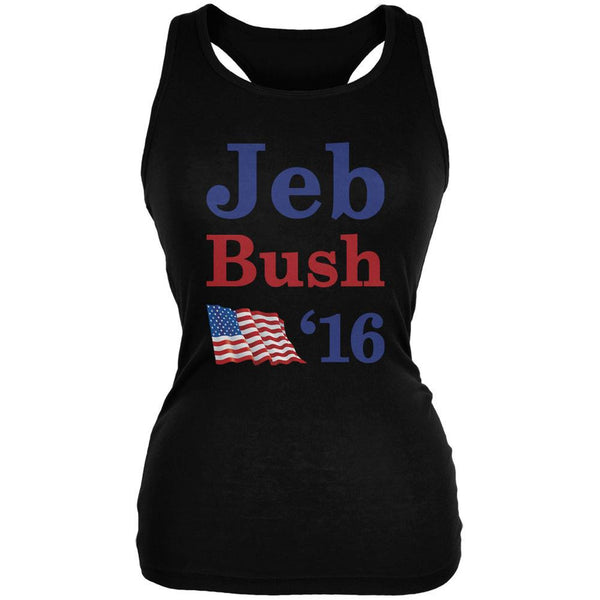 Election 2016 16 Flag Jeb Bush Black Juniors Soft Tank Top