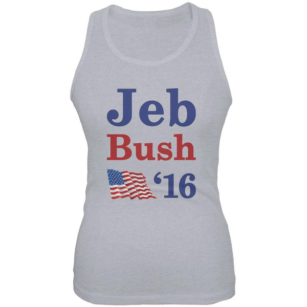 Election 2016 16 Flag Jeb Bush Heather Grey Juniors Soft Tank Top