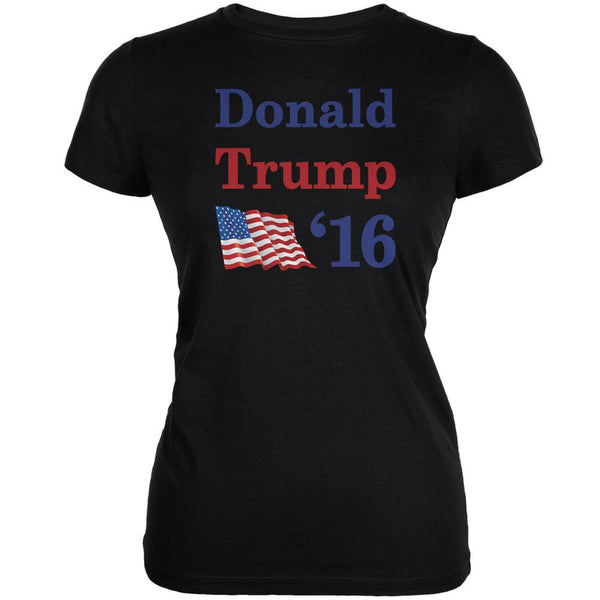 Election 2016 16 Flag Donald Trump Black Juniors Soft T-Shirt
