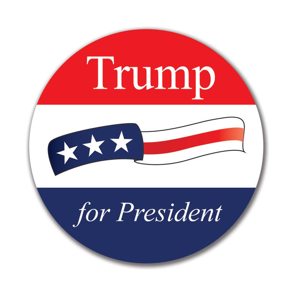 Election 2016 Donald Trump Waving Flag 4in. Round Sticker