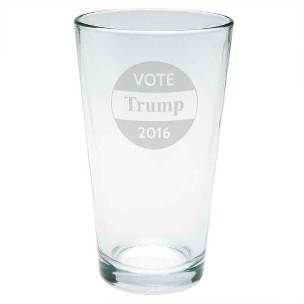 Election 2016 Vote Donald Trump Button Etched Pint Glass